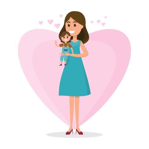 Mutter und Kinder auf Herzhintergrund. Mutter, die ihre Tochter auf flachen Artvektorillustrationen hält vektor