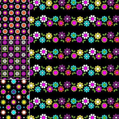 mod geometriska och blommönster på svarta bakgrunder vektor