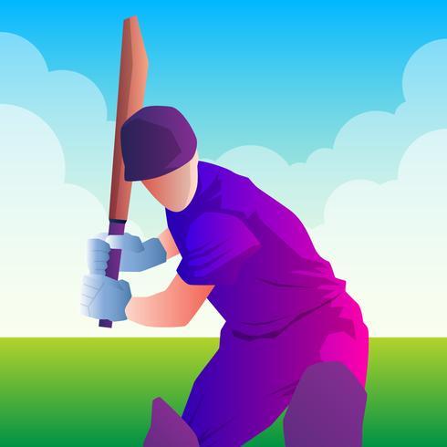 Schlagmann, der Cricket spielt. Meisterschaft Sport. vektor