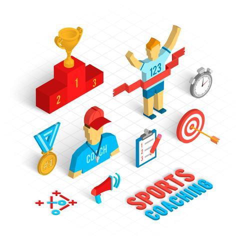 Sportcoaching Isometrisk uppsättning vektor