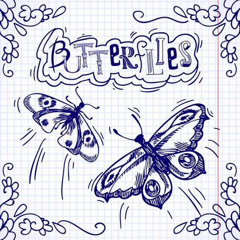 Fjärilar klotter prydnad vektor