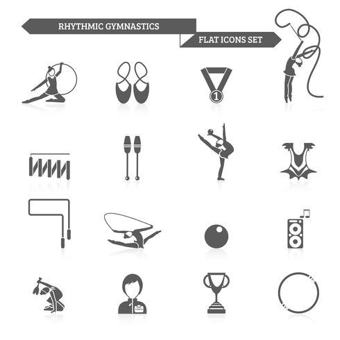 Gymnastikikoner Set vektor