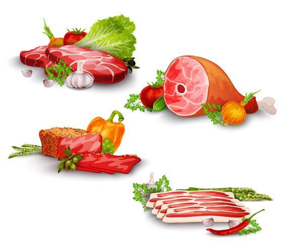 Kött med grönsaker Set vektor