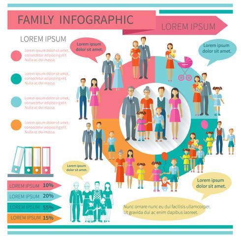 Familien-Infografiken-Set vektor