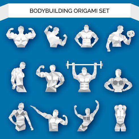 Bodybuilding Polygonal Weiß vektor