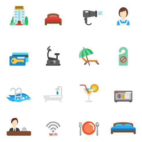 Hotell Flat Icon Set vektor