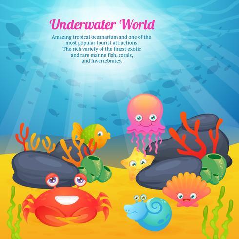 Söt djur undervattensvärldserie vektor