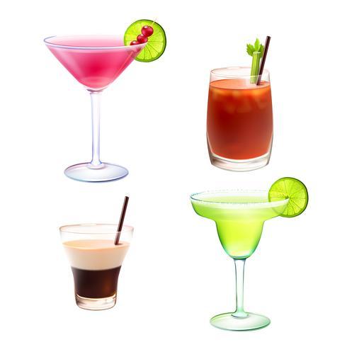 Cocktail realistisk uppsättning vektor