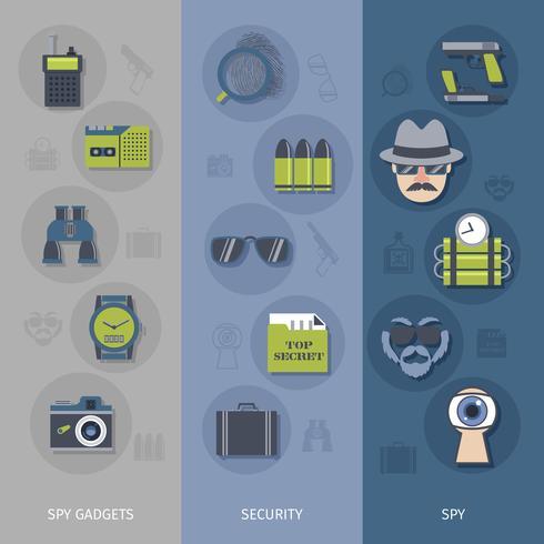 Spion gadgets banners set vektor