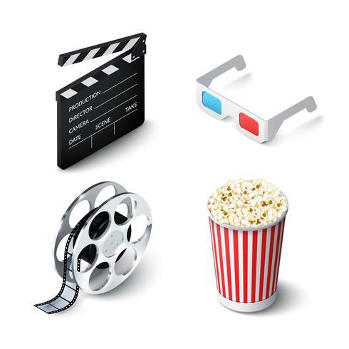 biograf realistisk uppsättning vektor