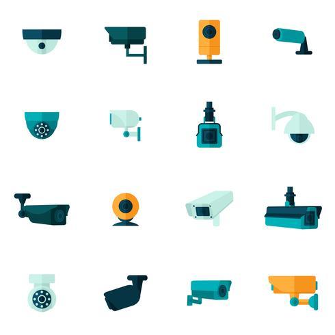 Überwachungskamera-Symbol flach vektor