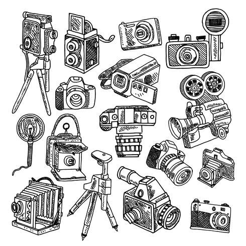 Kameragekritzelskizzenikonen eingestellt vektor