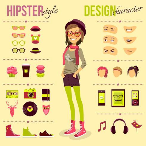 Hipster-Mädchen-Set vektor