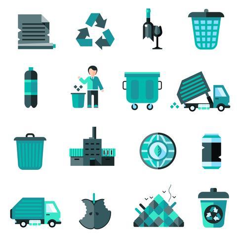 Müll Icons Set vektor