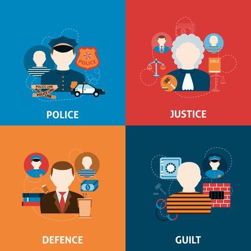 Brott och bestraffningar platt ikoner komposition vektor