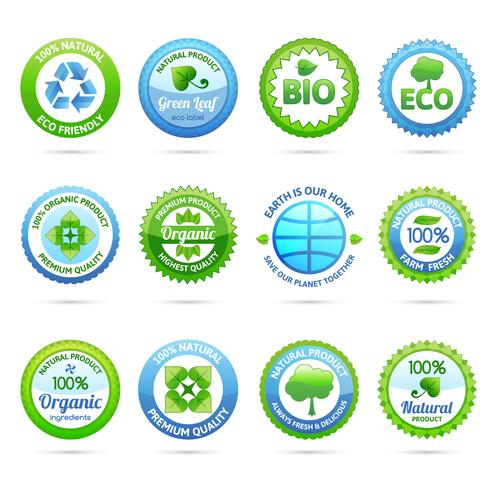 Ekologiska etiketter Sätta vektor