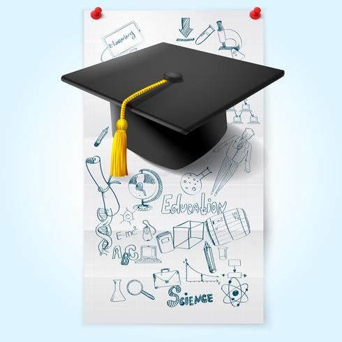 Utbildning skiss med hatt vektor
