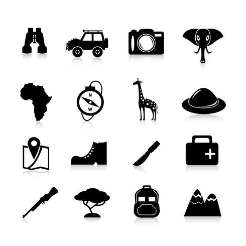 Safari ikoner svart vektor