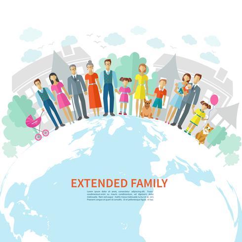 Familj platt bakgrund vektor