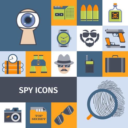 Spion gadgets platt ikoner komposition poster vektor