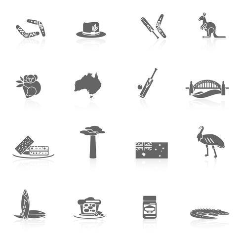 Australien ikoner uppsättning vektor
