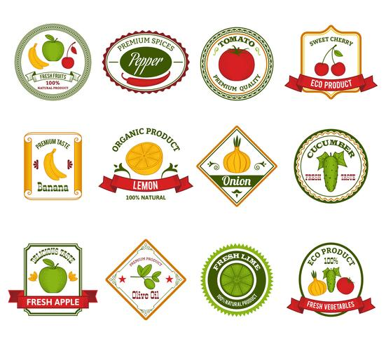 Obst-Gemüse-Etiketten setzen Farbe vektor