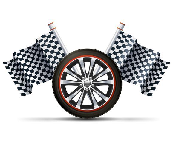 Racinghjul med flaggor vektor