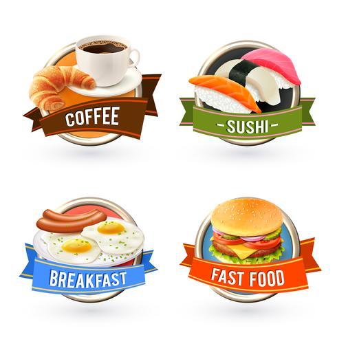 Frukost etiketter Set vektor