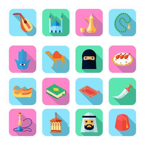 Arabisk kultur ikon platt vektor