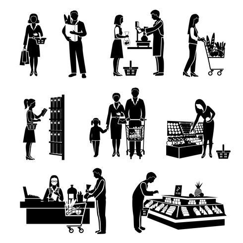 Supermarket Människor Svart vektor