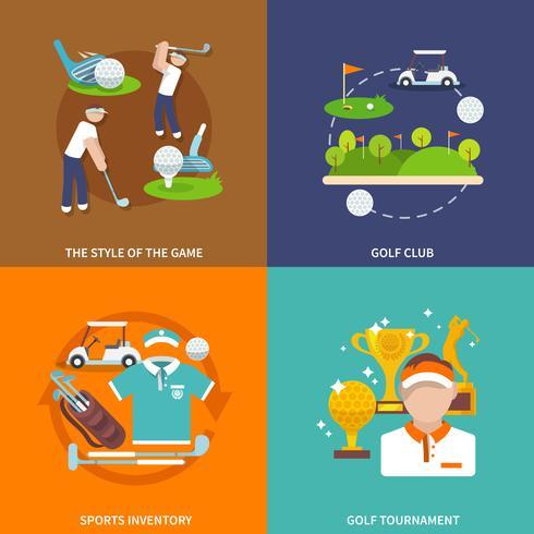 Golf lägenhet set vektor