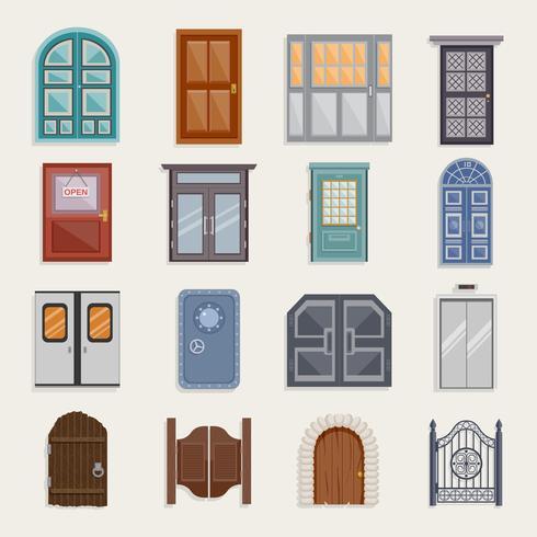 Dörr ikoner platt vektor
