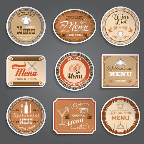 Vintage Meny Etiketter vektor