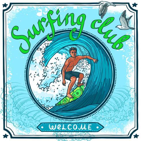 Surfa affisch vektor