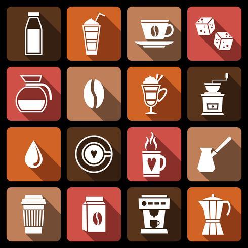 Kaffe ikoner vit vektor