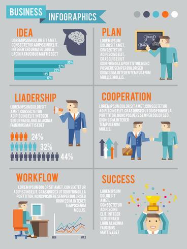 Geschäftsmann, der Infografiken arbeitet vektor