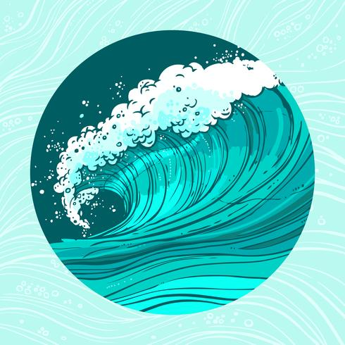 Havsvågor cirkel vektor