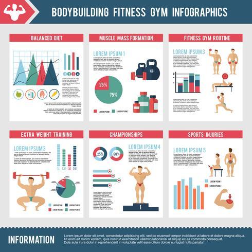 bodybuilding fitness gym infographics vektor