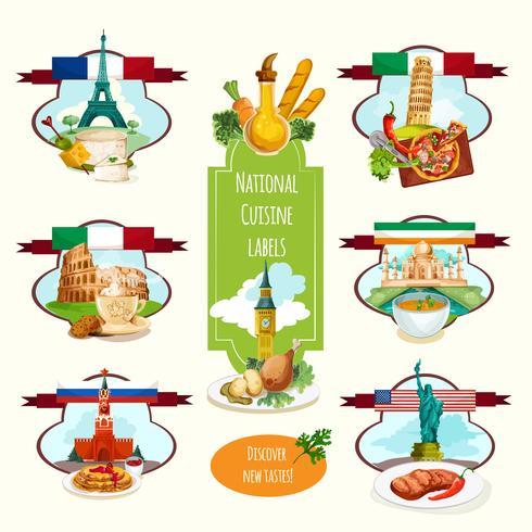 Nationale Küche Etiketten vektor