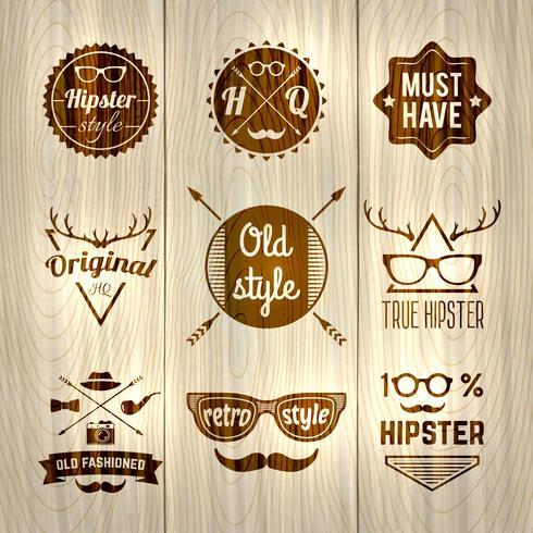 Hipster-Etiketten aus Holz vektor