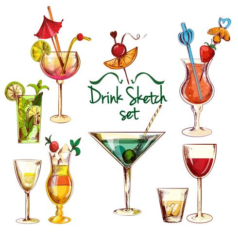 skiss cocktail set vektor