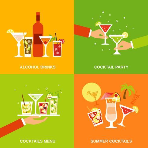 Alkohol Cocktails Ikoner Flat vektor