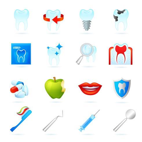 Zahnmedizinische Ikonen eingestellt vektor