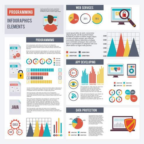 Programmerare Infographics Set vektor