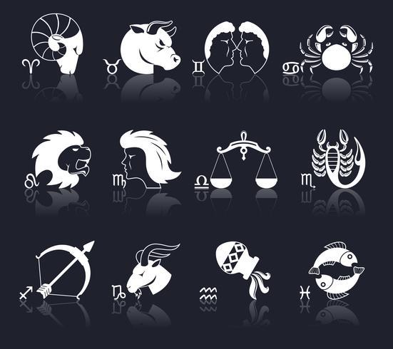 Tierkreis-Ikonen weiß vektor