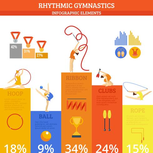 Gymnastik Infographics Set vektor