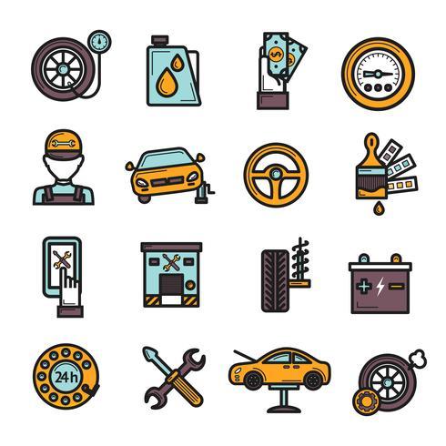 autoservice ikonuppsättning vektor