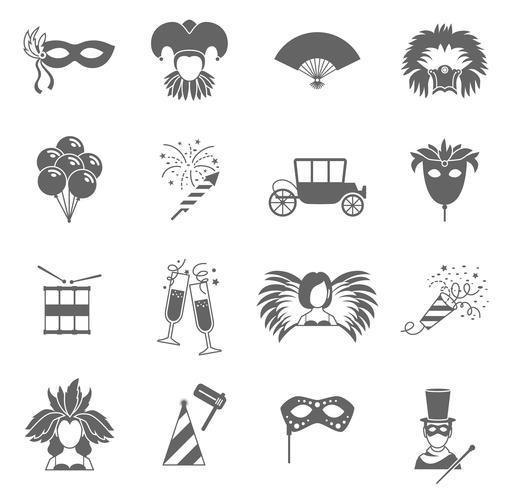 Karnevalsymboler som är svarta vektor