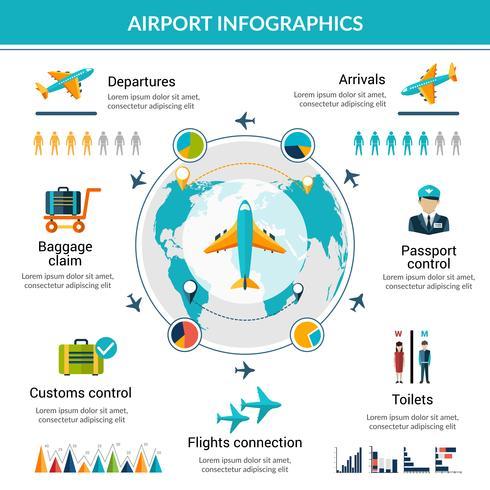 Flughafen Infographik Set vektor