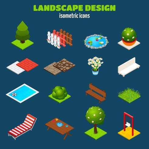 Isometriska ikoner för landskapsdesign vektor